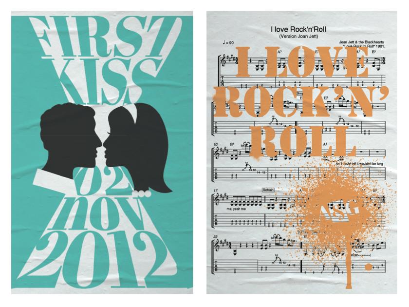 O 1o beijo e a música preferida viraram posteres