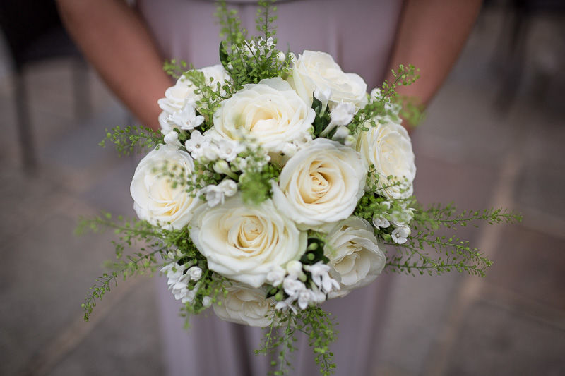 Bridal bouquet. Simply elegant, garden style roses in timeless ivory