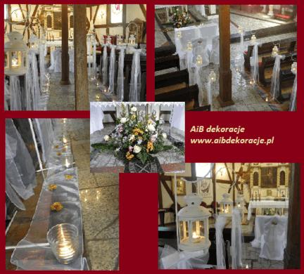 Dekoracje kościoła w Gorzowie,latarenki i białe tiulowe kokardy.