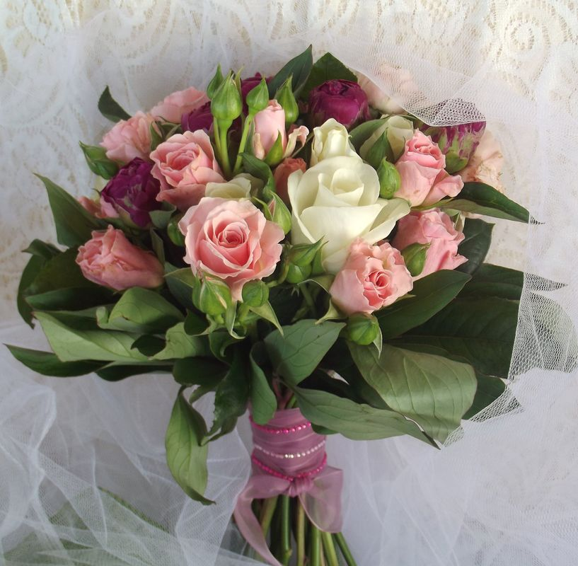 Bouquet rose e purple peonie