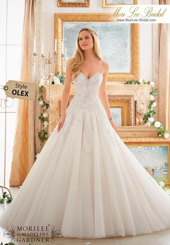 Wedding Dress OLEX  Rose Patterned Embroidery with Crystal  Beading  on Tulle  Ball  Gown  Colors Available: White/Silver, Ivory/Silver, Light Gold/Silver