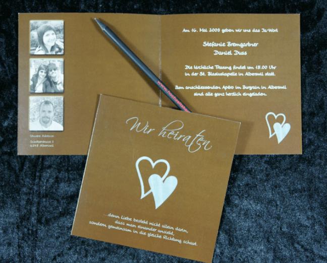Beispiel: Hochzeitskarte, Foto: Print & Design Factory.