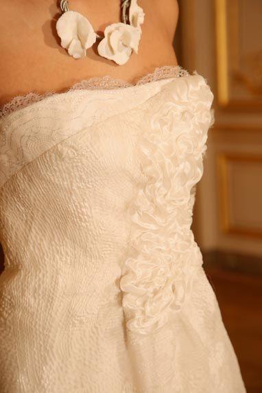 Beaumenay Joannet Paris, robe de mariée Couture, organza, dentelle et bouillonée