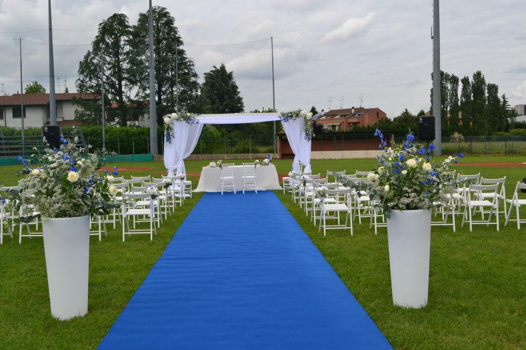 allestimento cerimonia matrimonio  in un campo di baseball - Rossodisera Events
