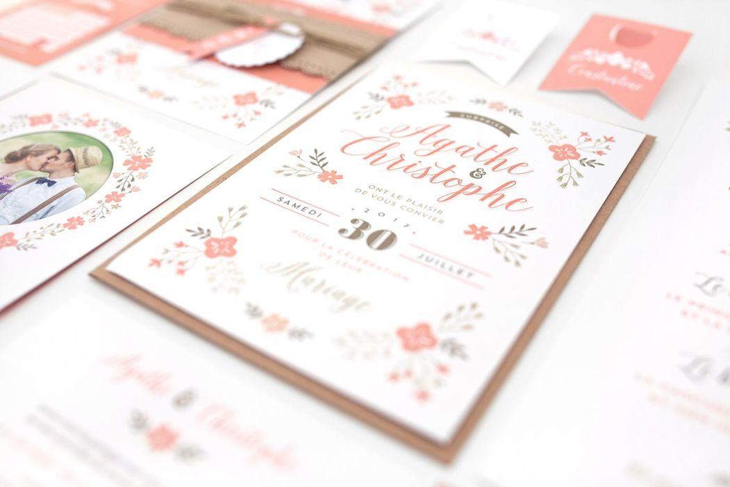Faire-part de mariage Jardin Champêtre (modèle à personnaliser disponible chez Print Your Love)