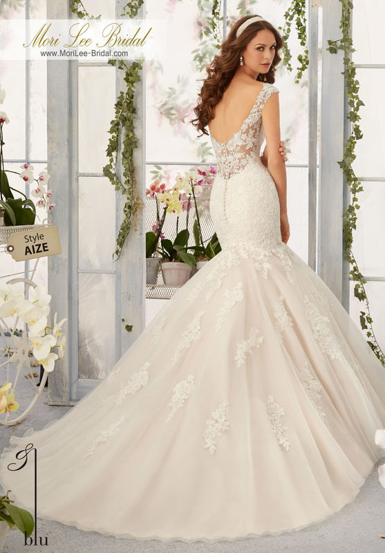 Dress Style AIZE Alencon Lace Appliques With Frosted Beading Onto The Tulle, Mermaid Gown.  Colors available: White, Ivory, Ivory/Light Gold.