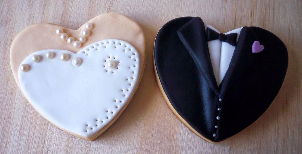 Galletas de vainilla decoradas de fondant ¡te harán quedar muy bien el día de tu boda!