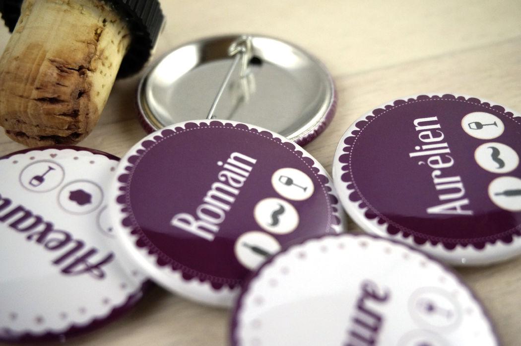 Badges, cadeaux aux invités Thème vin Mademoiselle Créa