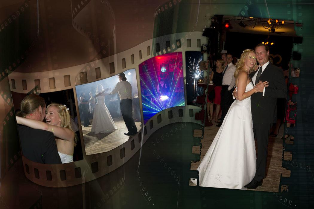 Collagenerstellung der Hochzeitsfeierfotos in einem Strandrestaurant am Berliner Müggelsee.