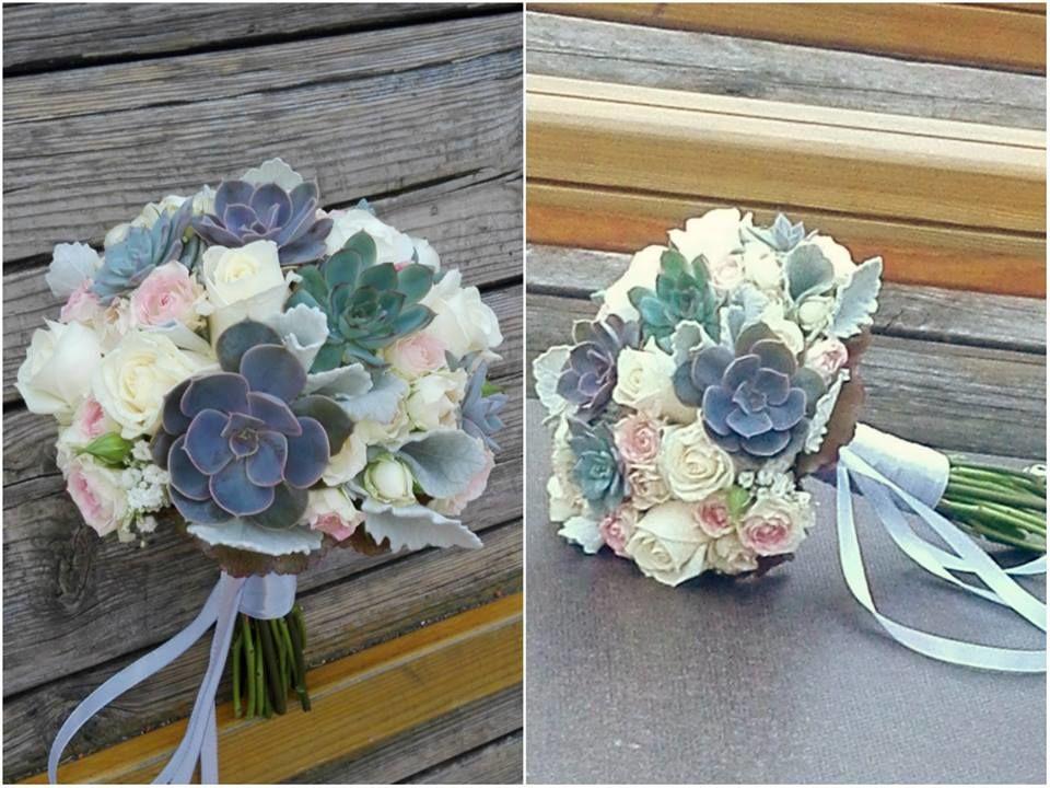 Bouquet de Noiva Tons Nude e Suculentas