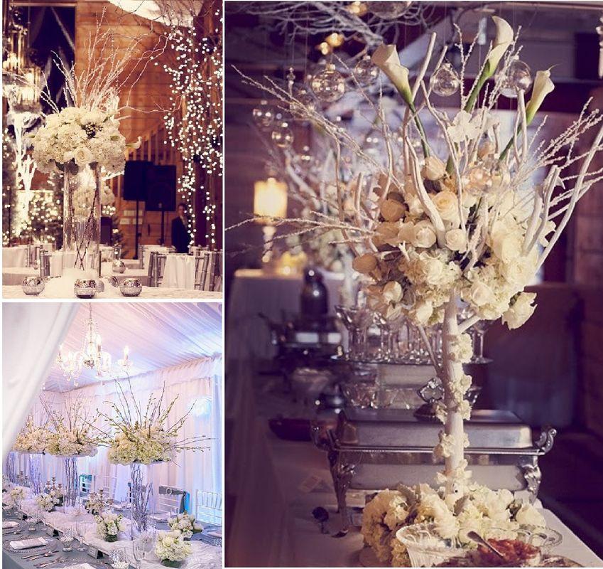 Vases et arbres thème Hiver
