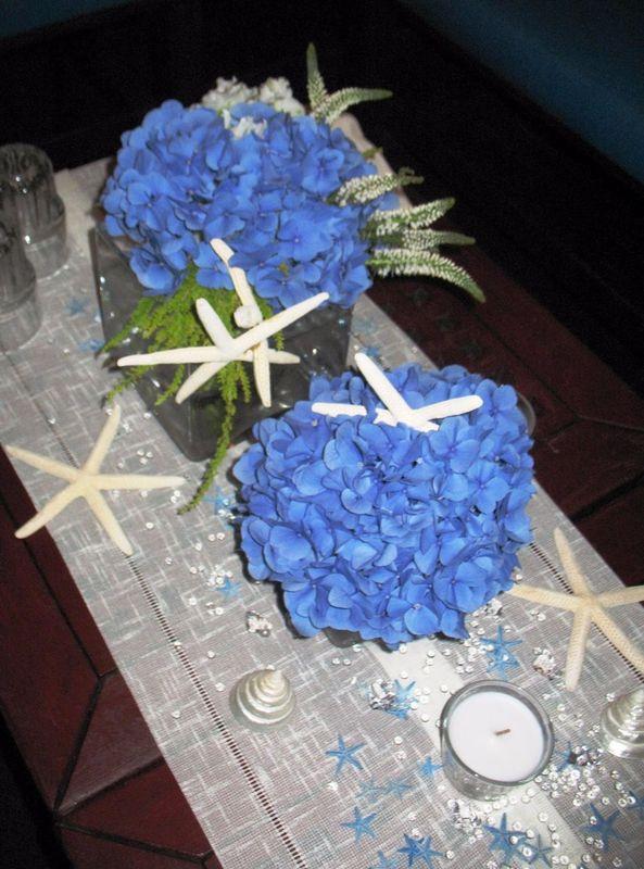 Matrimonio in spiaggia. Allestimenti floreali ispirati all'azzurro e al bianco