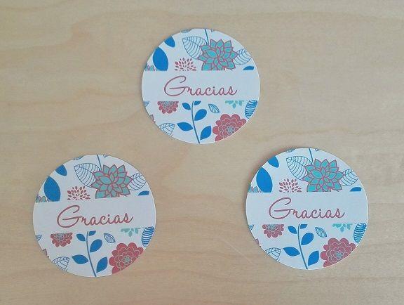 Etiquetas de agradecimiento Motivo: Flores Color: Azul y Rosa