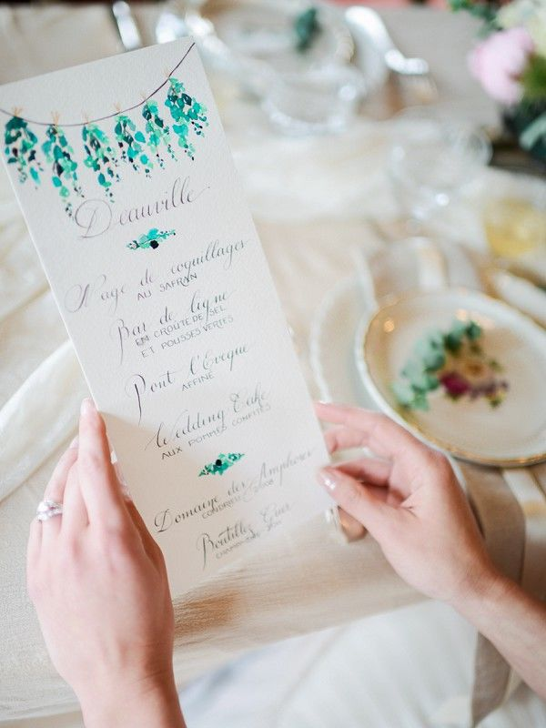 menu calligraphie et aquarelle