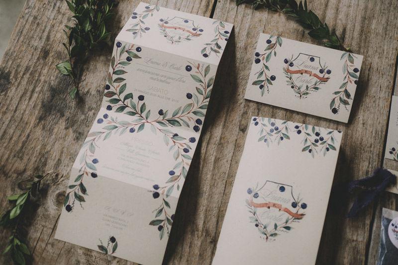 Invito e libretto cerimonia: impaginazione grafica e mirto ad acquarello - foto di Matrimoni all'Italiana