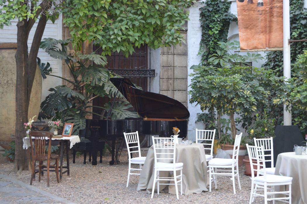 Música piano durante aperitivo en Patio Exterior