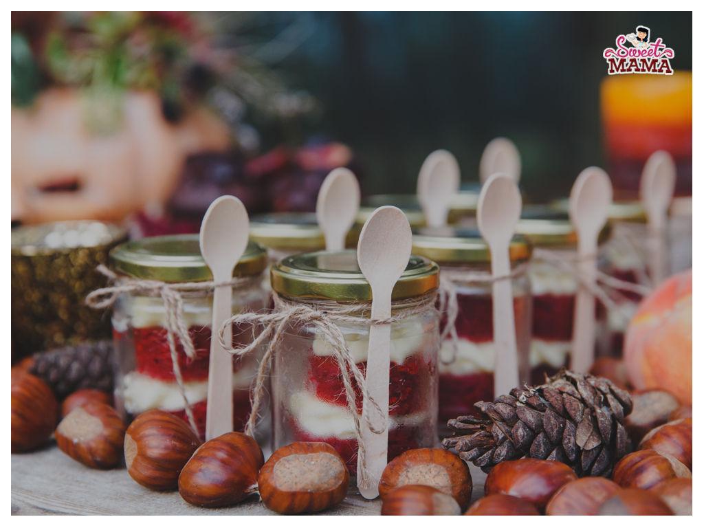 Red Velvets en Tarro para mesa dulce otoño. Foto: Wedding's Art.