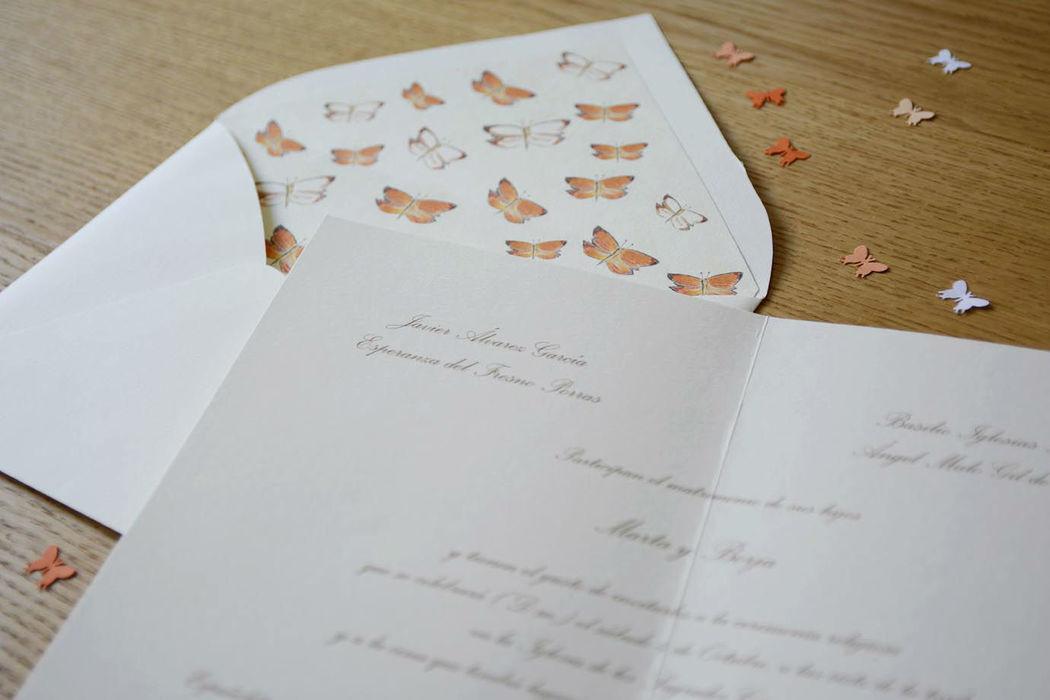 Invitación modelos mariposas.