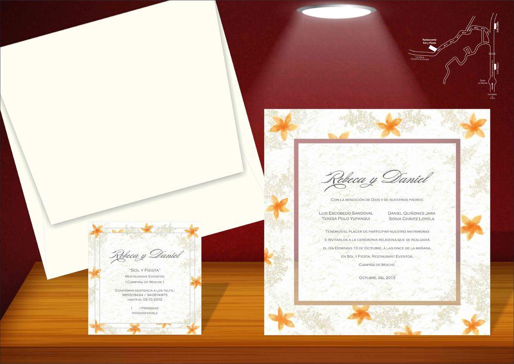 Invitacion contraplacada con flores en motivos naranja