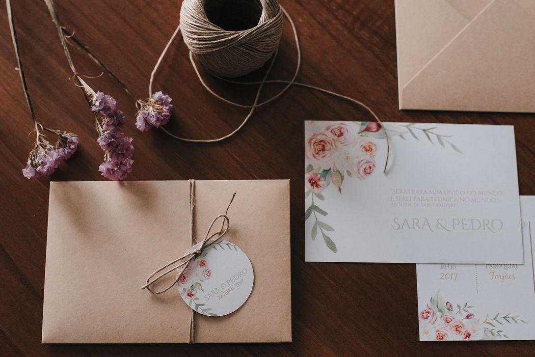 Convite casamento - tema floral