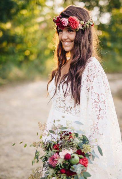 Herbes Fauves - Couronne et bouquet de mariée bohème