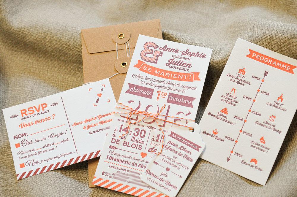 Faire-part Déclaration, imprimé en Letterpress sur papier Coton. Programme, carton-réponse et étiquette assorties