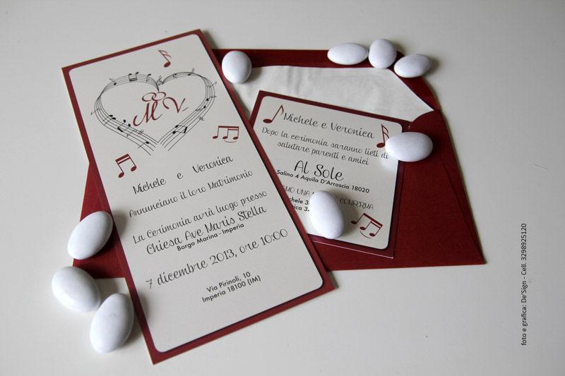 Partecipazioni nozze Cuori & Musica