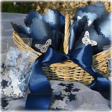 Cesta + conos + confetti Figuras disponibles de confetti: estrellas, mariposas o corazones.