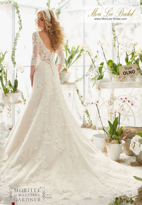 """Dress Style OLNO Alencon Lace Appliques On Net Frosted With Delicate Beading And Scalloped Hemline  Available in Three Lengths: 55"""", 58"""", 61"""". Colors Available: White, Ivory, Ivory/Light Gold."""
