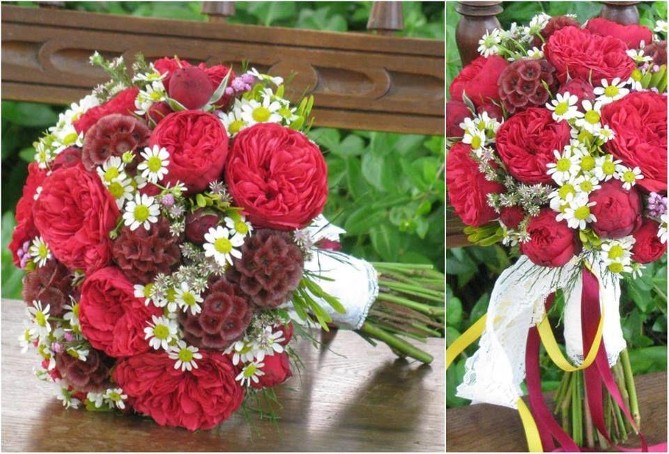 Bouquet de Noiva Rosas Vermelhas e Malmequeres