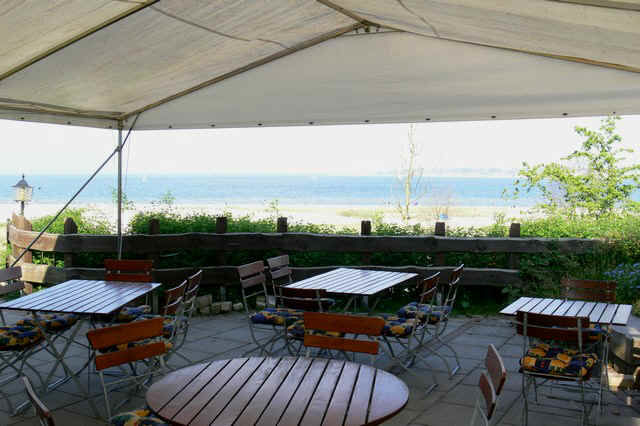 Beispiel: Strandterrasse am Meer, Foto: Landgasthof Falkenhorst.