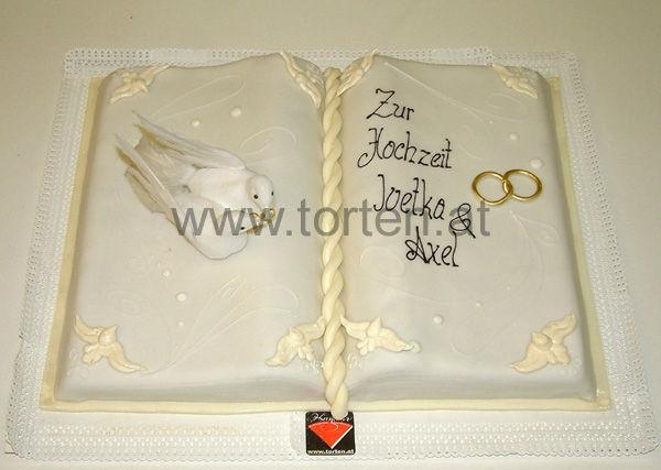 Beispiel: Torte als Hochzeitsbuch, Foto: Hanauer Schoko & Torten Bio.