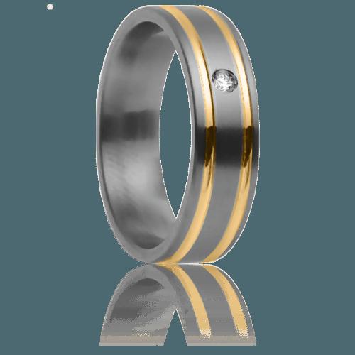 Anillo de boda de titanio y oro amarillo con un diamante