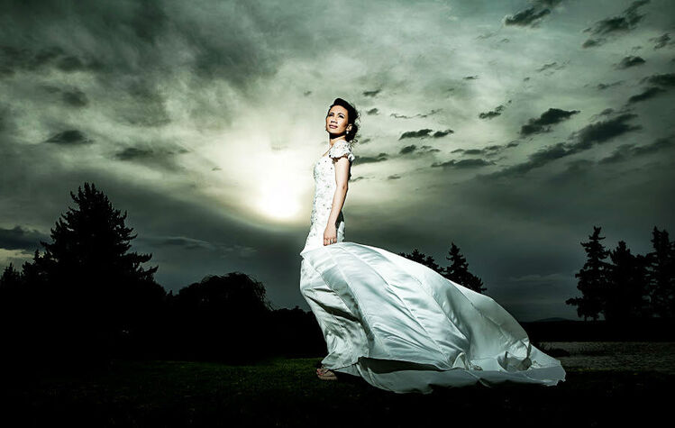 logrando un efecto del vestido con el cielo, matizados