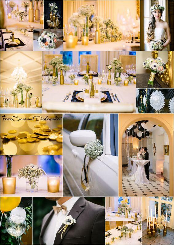 Gold-Schwarz-Weiß! Die elegante Dekoration!