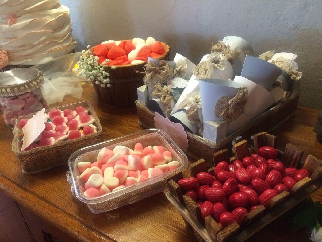 Mesa de dulces estilo Vintage - Boda al interior