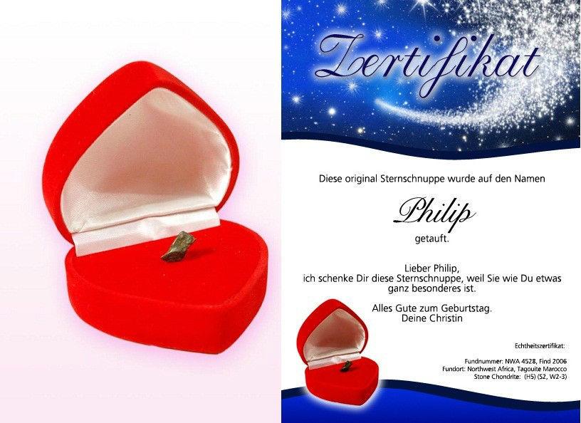 Echte Sternschnuppe, verpackt in einer roten Herzgeschenkbox Foto: Hot-Princess.de.