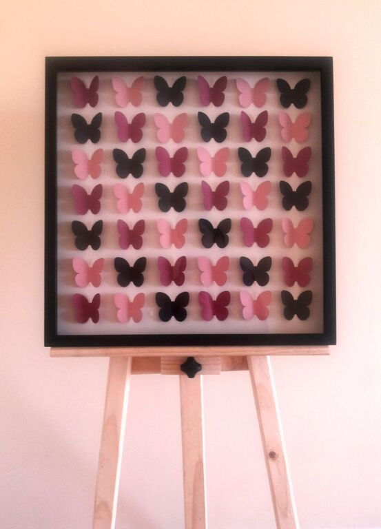 Libro de Firmas para invitados, modelo cajón 3D, figuras a gusto del cliente (mariposas o corazones)
