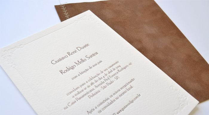 Convite homoafetivo com impressão em letterpress feito pela Letterpress Brasil