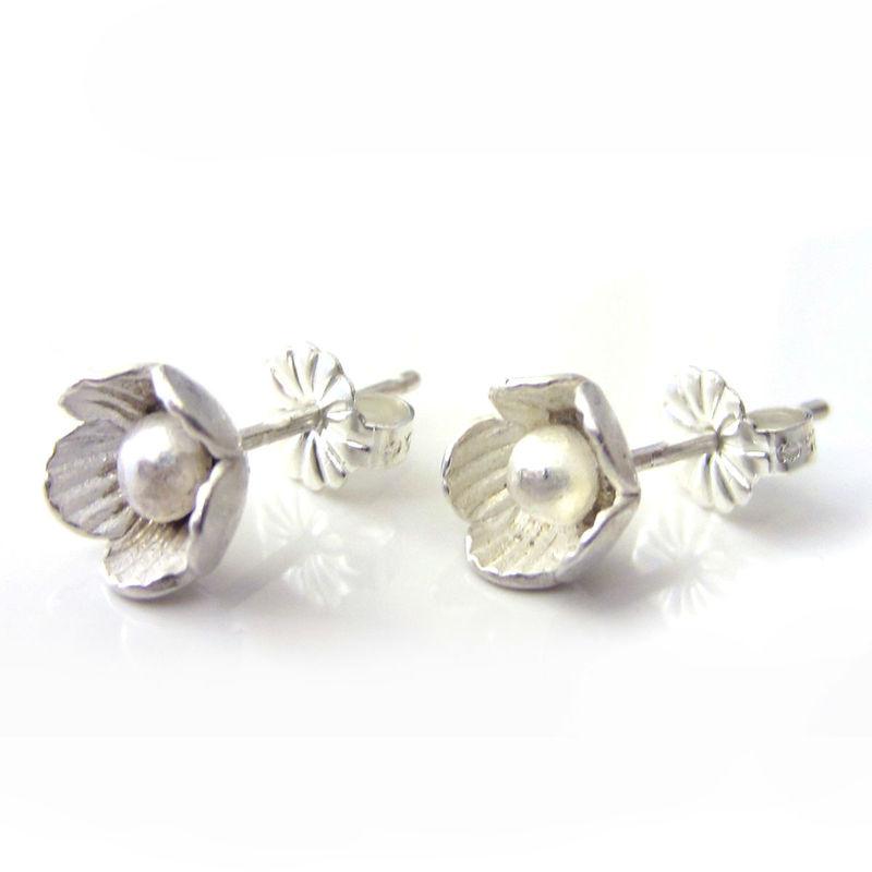 clous d'oreilles fleurs en argent massif