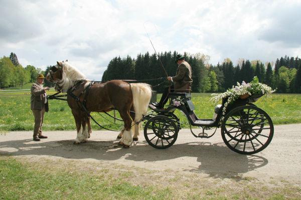 Beispiel: Hochzeitskutsche, Foto: Sandra's Blütenzauber.