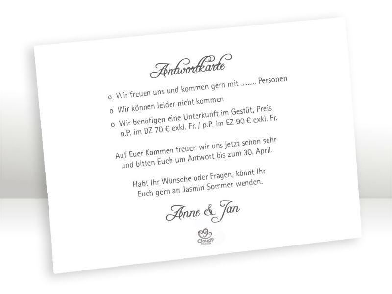 Beispiel: Antwortkarte Serie Black & White, Foto: Cloud9 Design.
