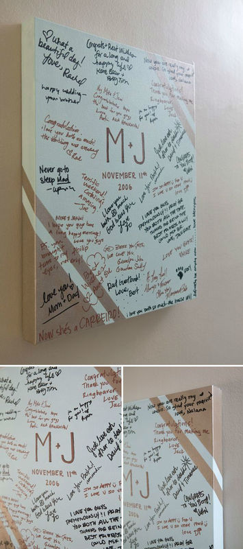 Alternative Guestbook Idea - Quadro su tela personalizzato con spazio per dediche e firme