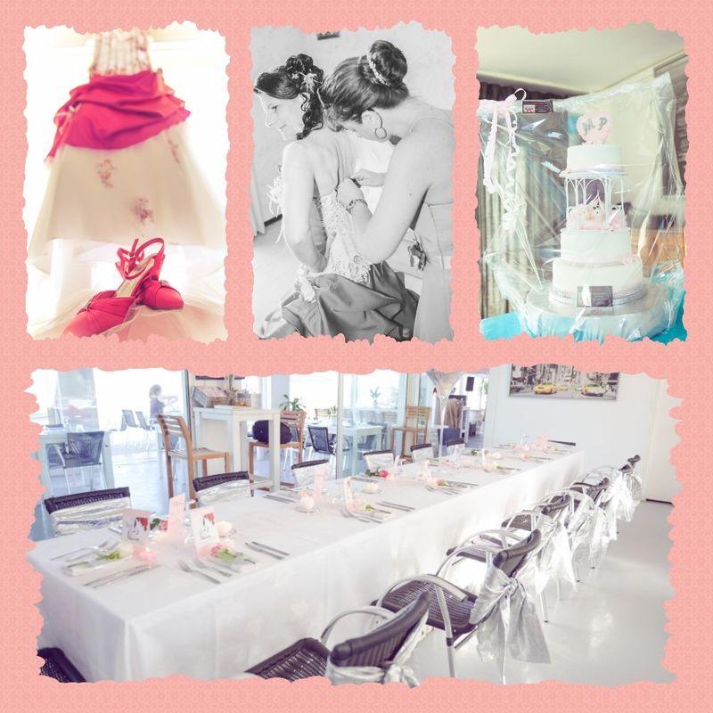 Coordination du jour J. Habillage de la mariée et décoration de la salle en rose pâle.