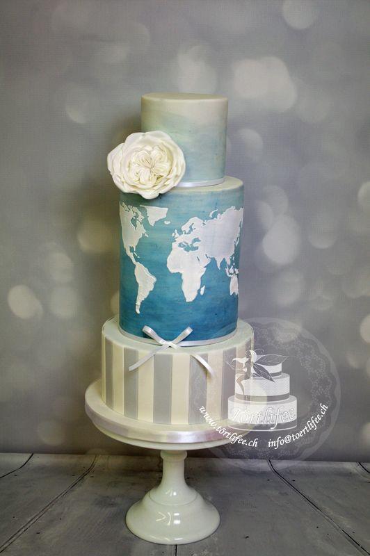 Paintet-Cakes mit geprägten Mustern (Weltkarte)