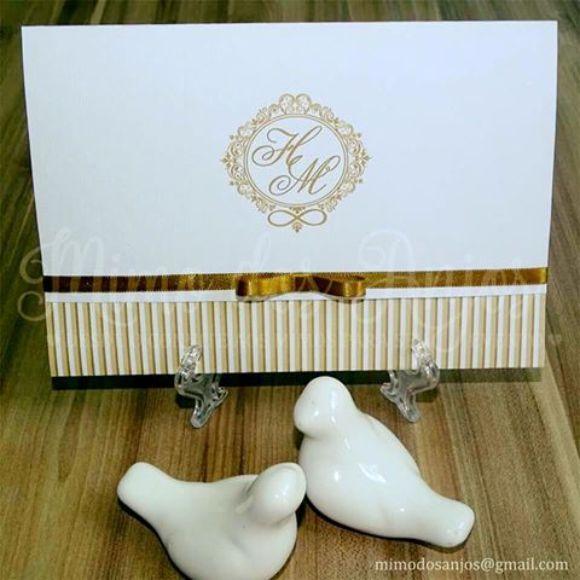 Convite Romantic ♥ Branco e dourado.