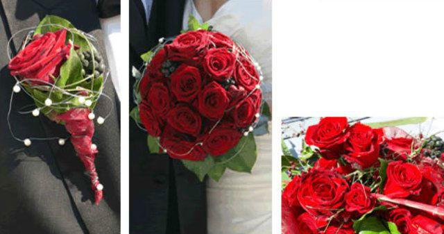 Beispiel: Anstecker und Tischdekoration mit roten Rosen, Foto: Hadrigan Blumen Ambiente.