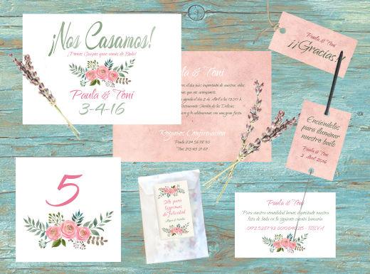 Conjunto Acuarela Aguarosa. Invitaciones, etiquetas, portabengalas, meseros, lágrimas de felicidad, tarjetas numero de cuenta...