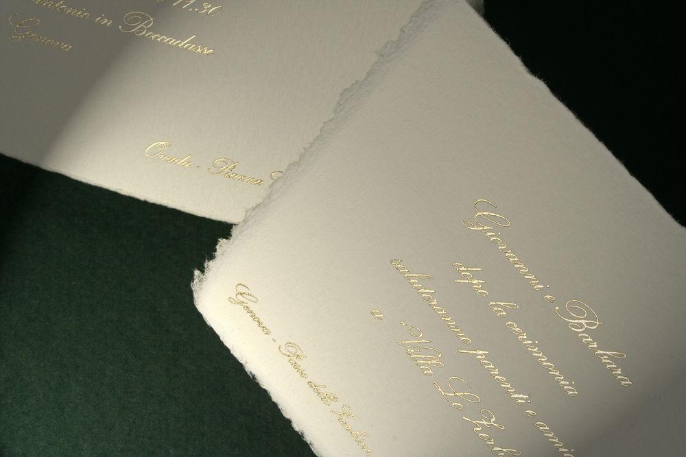Partecipazione su Carta di Amalfi con stampa in oro a caldo