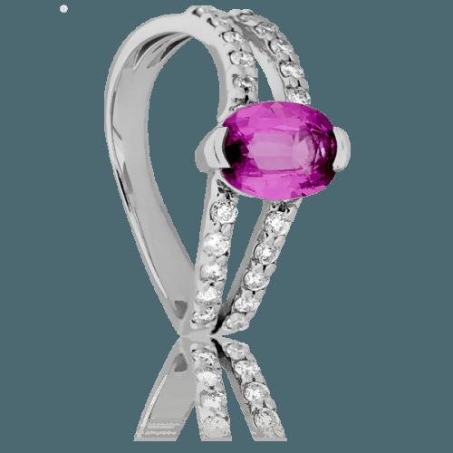 Anillo de compromiso con diamantes y una zafiro rosa de piedra central